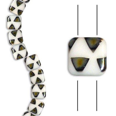 2-hole Glass Tile Bead - Chalk White Sliperite - 6x6mm