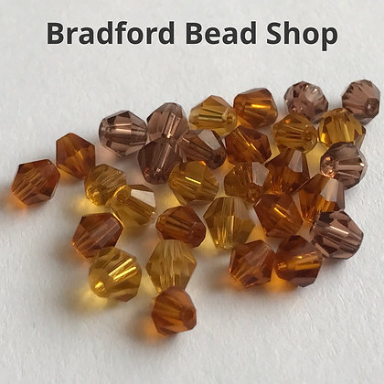 Machine Cut Bicone Beads - Topaz Mix Translucent - 4mm