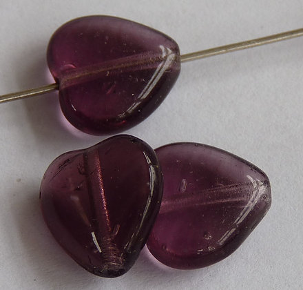 Glass Heart Beads- Purple Transparent