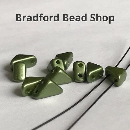 Glass 2 Hole Tango Beads - Sage Green Opaque Matte - 6mm