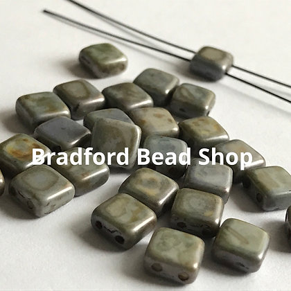 2-hole Glass Tile Bead - Grey Marble Opaque - 6x6mm