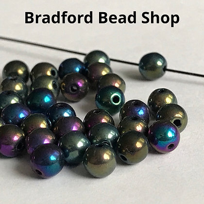 Glass Round Beads - Petrol Mix Opaque - 4mm