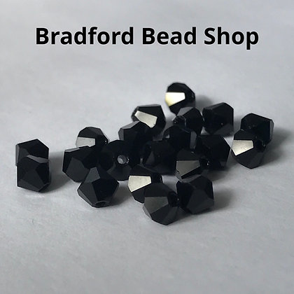 Preciosa Crystal Rondell Beads - Black Opaque - 4mm