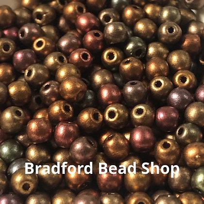 Glass Round Beads - Bronze Multi Opaque(2) - 3mm