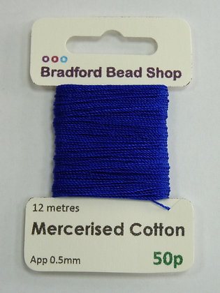 Mercerised Cotton Thread - App. 0.5mm x 12 metres - Navy Blue