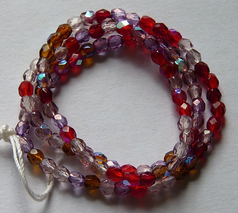 Glass Faceted Rounded Beads - Red Mix