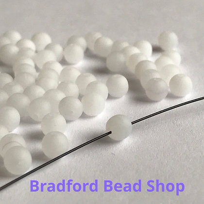 Glass Round Beads - White Opaque Matte - 4mm