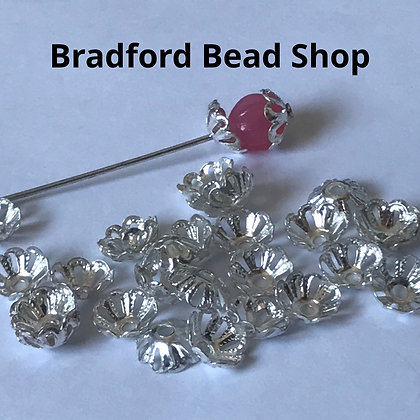 Bead End Cup (Patterned with holes) - 7mm - Silver Plated