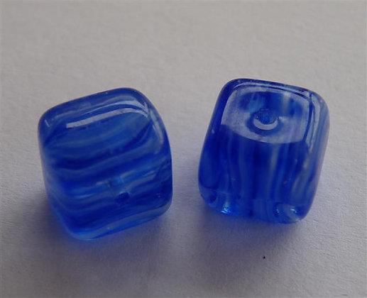Glass Bead - Cubed Marble Blue\White\Clear