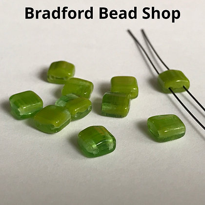 2-hole Glass 'Silky' Hump Bead - Leaf Green Marble Translucent - 6mm