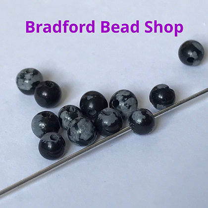 Snowflake Obsidian Beads - 4mm