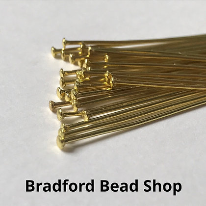 Head Pins - Gold Plated - 50mm x 0.8mm