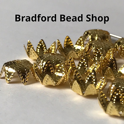 Bead End Cup (Pattern) - 10mm - Gold Plated