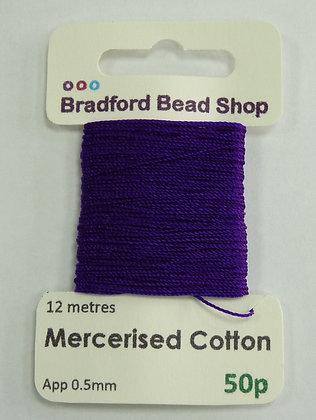 Mercerised Cotton Thread - App. 0.5mm x 12 metres - Purple