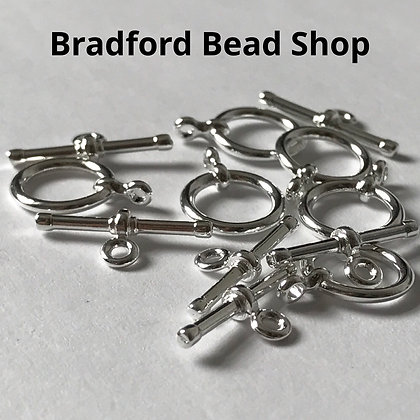 T-Bar Clasps - 13mm x 15mm - Silver Plated