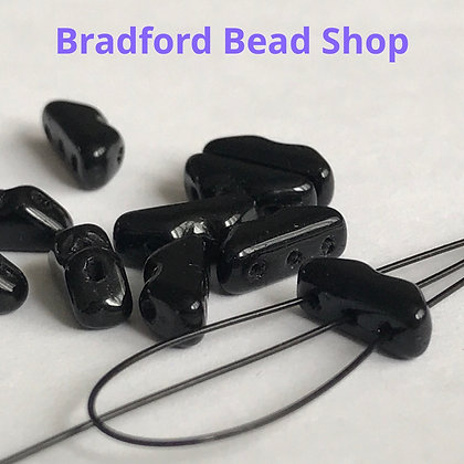 Glass Mountain 3 Hole Beads - Black Opaque - 4mm x 9mm