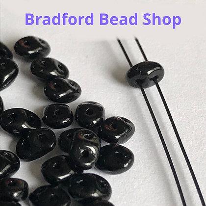 Matubo Glass Superduo Beads - Black Opaque - 2.5mm x 5mm