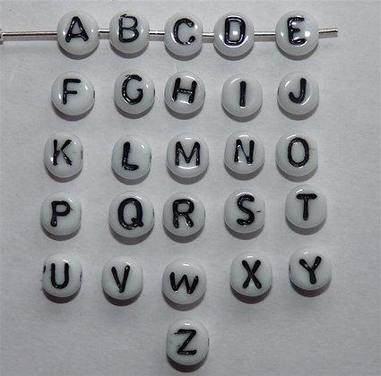 Glass Alphabet Beads - White Opaque