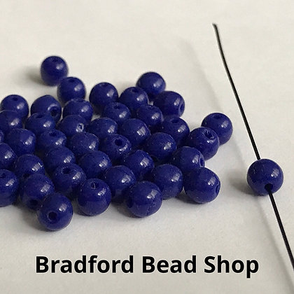 Glass Round Beads - Blue Opaque - 4mm