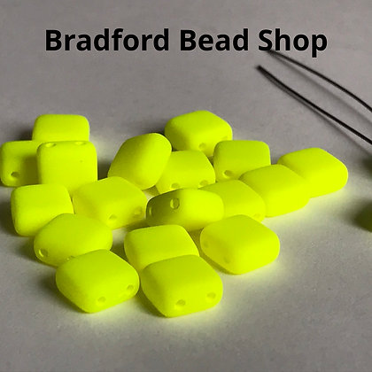 2-hole Glass Tile Bead - Neon Yellow Opaque Matte- 6x6mm