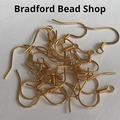 Fish Hook Earring Wires - Gold Plated - 15mm