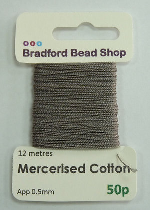 Mercerised Cotton Thread - App. 0.5mm x 12 metres - Grey