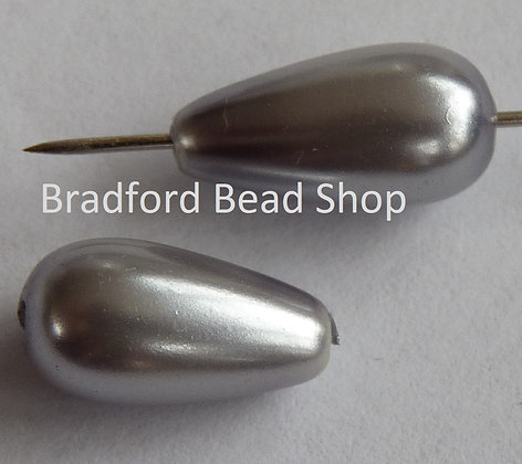 Glass Pearl Effect Beads - Silver - Pear Drop