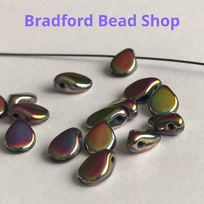 Preciosa PIP Beads - Petrol Rainbow Opaque - 5mm x 7mm
