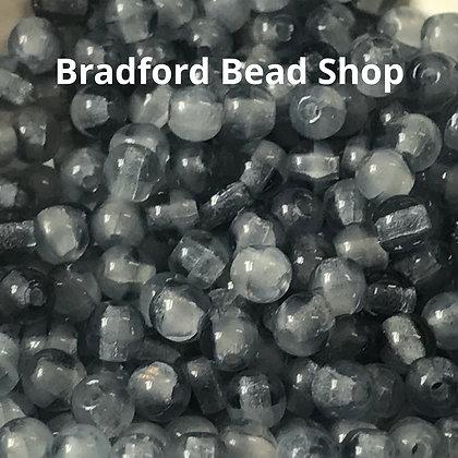 Glass Round Beads - Light Stoney Blue Translucent - 3mm