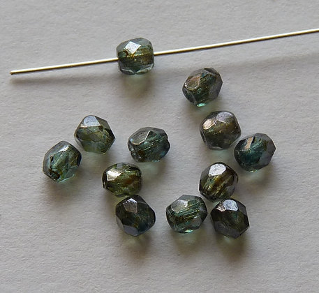 Glass Faceted Rounded Beads - Iron Grey Coated