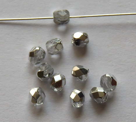 Glass Faceted Rounded Beads - Clear with Half Silver Coating