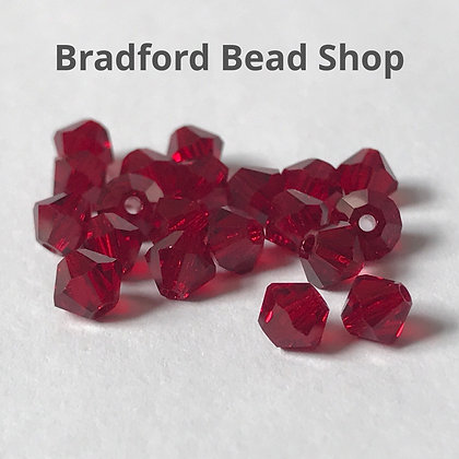 Preciosa Crystal Rondell Beads - Red Translucent - 4mm