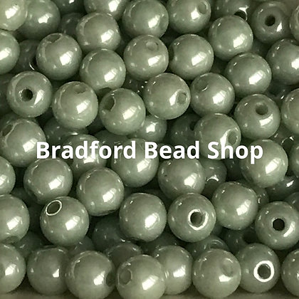 Glass Round Beads - Mint Pearl Opaque - 4mm