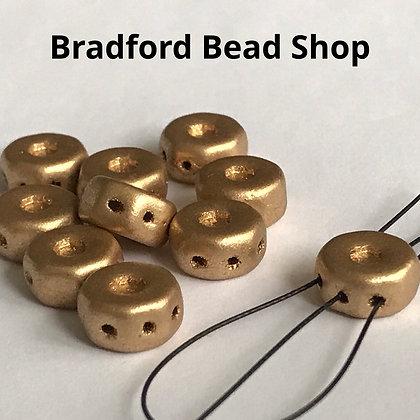 Glass Octagon 3 Hole Beads - Gold Opaque Matte - 8mm x 4mm