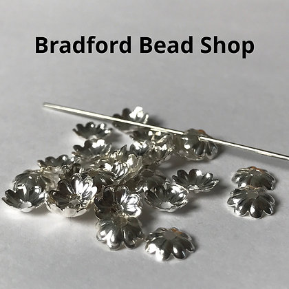 Bead End Cup (Plain) - 7mm - Silver Plated