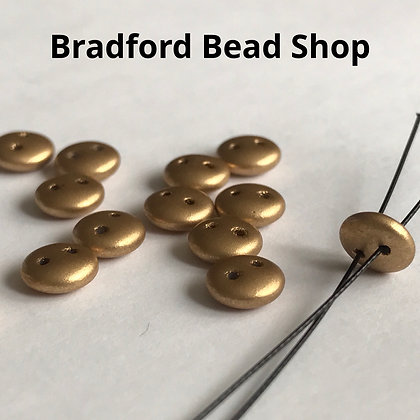 Glass 2 Hole Oval Beads - Gold Opaque Matte - 2mm x 6mm
