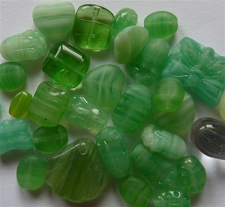 Glass Mixed Beads - Greens