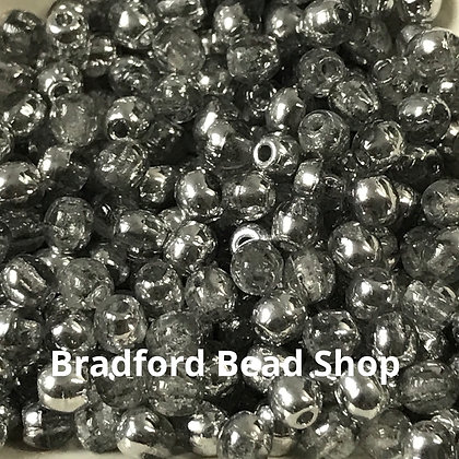 Glass Round Beads - Crystal Translucent/Silver Half Coat - 3mm