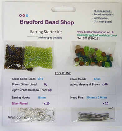 Basic Head Pin Earring Starter Kit - Forest Mix