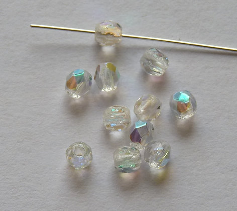 Glass Faceted Rounded Beads - Crystal Clear AB