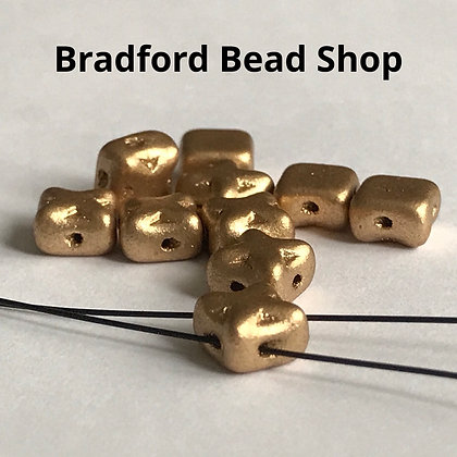 Glass 2 Hole Square 'X' Beads - Gold Opaque Matte - 6mm