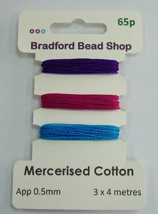 Mercerised Cotton Thread - Multi Pack - App. 0.5mm -Purple, Cerise & Turquoise