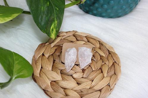Raw Rose Quartz Earrings