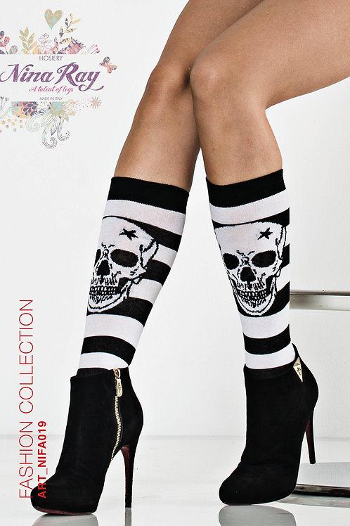 NIFA019 • Cotton Skulls Knee Highs