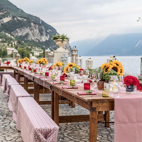 Italian rustic dinner on  Garda Lake