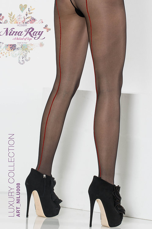 NILU008 • Nylon Red Back Seam Tights - 20 den
