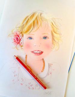 Illustration beauté-Enfant portrait de ma fille - Camille Bellet Illustration
