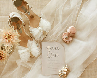 Charlotte Mills wedding shoes and engagement ring flatlay