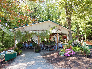 Woodland Pavilion decorated and hosting a gathering of people while surrounded by flowers and woods.
