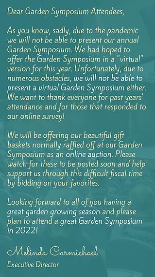 Garden Symposium 2021 Cancellation Messa